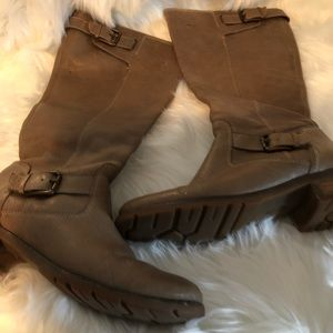 Tan colored Sofft tall boots.